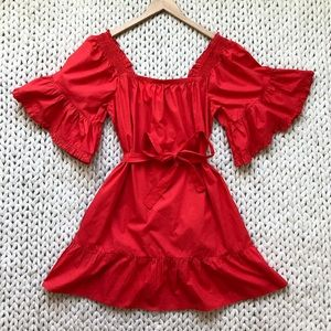 Joie Tomato Red Ruffle Off The Shoulder Dress